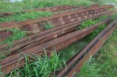 Carriles de acero oxidados Fotografía de archivo libre de regalías