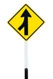 Carriles de la señal de tráfico que se combinan a la izquierda Fotos de archivo libres de regalías