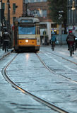 Carriles de la tranvía de Milán Fotos de archivo libres de regalías