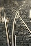 Carriles de la tranvía en Lisboa foto de archivo