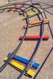 Carriles de un tren de la diversión Fotografía de archivo libre de regalías