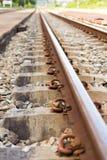 Carriles del ferrocarril Fotografía de archivo libre de regalías