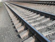 Carriles del hierro. Ferrocarril Fotos de archivo libres de regalías