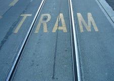 Carriles del tranvía fotografía de archivo libre de regalías