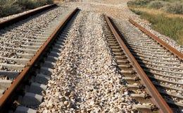 Carriles del tren bajo construcción Foto de archivo libre de regalías