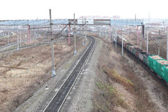 Carriles ferroviarios Fotos de archivo libres de regalías