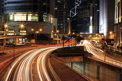 Carriles ligeros en la central, Hong Kong Foto de archivo libre de regalías