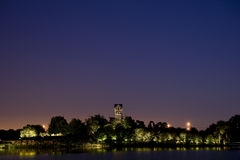 Carrilon Bells at night. Carrilon Bells-Chicago Botanical Garden at night.The wiew from Lakeside Garden Stock Photo