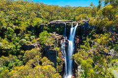 Carrington Falls - plunge waterfall in the Kangaroo River. Carrington Falls - plunge waterfall in the Kangaroo River in Souther Highlands region of NSW stock photography