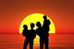 Carrinho da família da silhueta na praia do por do sol, colagem Imagens de Stock Royalty Free
