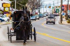 Carrinho de Amish em Philadelphfia velha Pike fotografia de stock royalty free