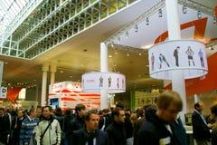 Carrinho de Avira e de McAfee na expo do computador de CEBIT Imagens de Stock