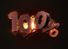 Carrinho de compras ardente e vermelho sinal de um disconto de cem por cento 3d Foto de Stock