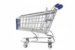 Carrinho de compras azul isolado no branco Foto de Stock