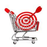 Carrinho de compras com alvo como dardos rendição 3d Imagens de Stock Royalty Free
