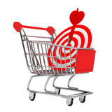 Carrinho de compras com alvo como dardos rendição 3d Fotos de Stock