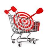 Carrinho de compras com alvo como dardos rendição 3d Ilustração Royalty Free