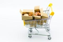 Carrinho de compras com as moedas dentro da caixa para o negócio de retalho Uso da imagem para comprar, lugar de mercado no mundo Foto de Stock Royalty Free