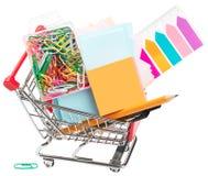 Carrinho de compras com estacionário Fotografia de Stock Royalty Free