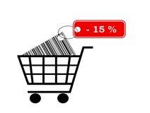 Carrinho de compras com etiqueta Imagens de Stock Royalty Free