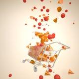 Carrinho de compras com geometria 3D espirradas Fotografia de Stock Royalty Free