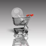 Carrinho de compras com a grande ampola, rendição 3D Fotos de Stock