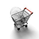 Carrinho de compras com a grande ampola, rendição 3D Imagens de Stock Royalty Free
