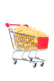 Carrinho de compras com massa imagens de stock