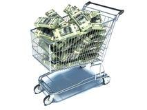 Carrinho de compras com nota do dólar Desperdício de dinheiro Imagem de Stock