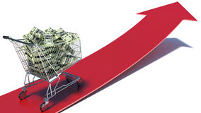 Carrinho de compras com nota do dólar Desperdício de dinheiro Fotografia de Stock