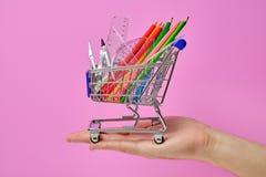 Carrinho de compras com o pessoal da escola que guarda à disposição imagem de stock royalty free