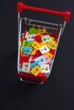 Carrinho de compras com pontos de interrogação Foto de Stock Royalty Free