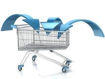 Carrinho de compras com seta Imagem de Stock