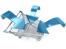 Carrinho de compras com seta Imagens de Stock Royalty Free