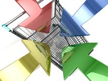 Carrinho de compras com seta Foto de Stock