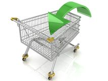 Carrinho de compras com seta Fotografia de Stock Royalty Free