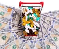 Carrinho de compras completamente com comprimidos e cápsulas sobre notas de dólar Fotos de Stock Royalty Free