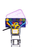 Material da escola da compra Foto de Stock