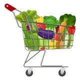 Carrinho de compras completo do supermercado Fotografia de Stock Royalty Free