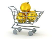 carrinho de compras 3D com três Golden Globes Fotografia de Stock
