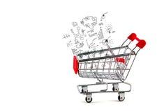 Carrinho de compras e conceito e gráfico do negócio Foto de Stock Royalty Free