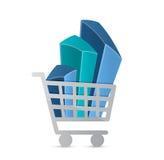 Carrinho de compras e gráfico de negócio Fotografia de Stock