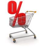 Carrinho de compras e por cento (trajeto de grampeamento incluído) Imagens de Stock Royalty Free