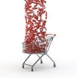Carrinho de compras e quedas das porcentagens Fotografia de Stock