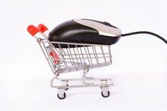 Carrinho de compras e rato Fotografia de Stock