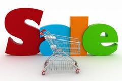 Carrinho de compras e texto Fotos de Stock Royalty Free