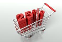 Carrinho de compras e um disconto de vinte cinco por cento Imagens de Stock Royalty Free