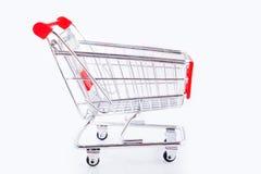 Carrinho de compras no fundo branco Fotos de Stock