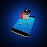 Carrinho de compras no smartphone, ilustração do telefone celular Imagens de Stock Royalty Free