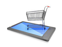 Carrinho de compras no telefone de Smart do tela táctil Imagem de Stock